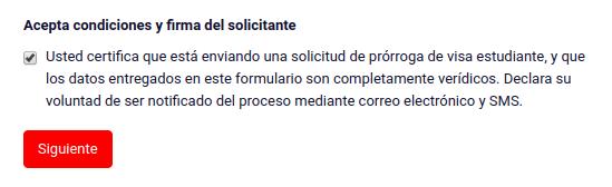 Acepta condiciones y firma del solicitante prorroga visa de estudiante en linea chile extranjeria immichile