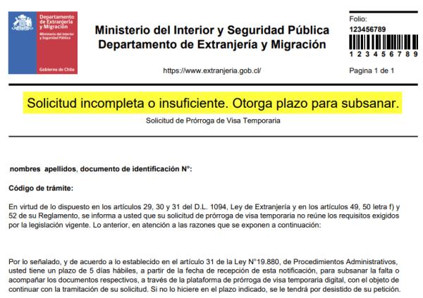 solicitud incompleta o insuficiente otorga plazo para subsanar prorroga visa sujeta a contrato chile immichile extranjeria