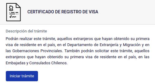 Certificado de Registro de Visa PDI primera vez chile immichile