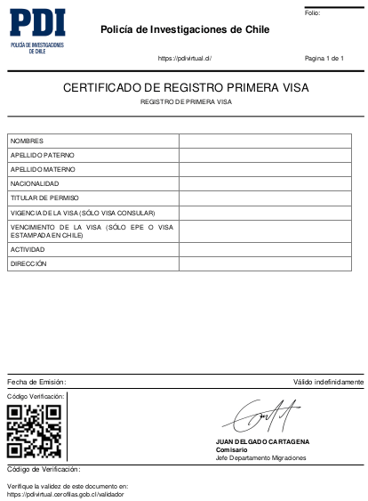 certificado de registro de primera visa pdi virtual chile immichile