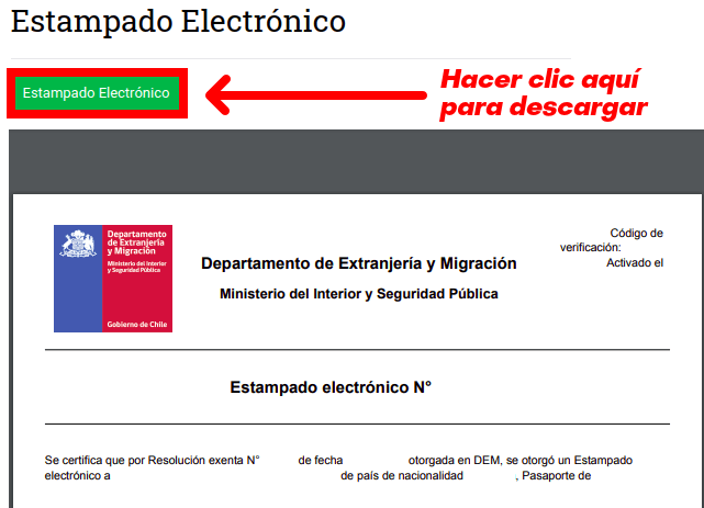 descarga estampado electronico extranjeria departamento de extranjeria y migracion chile immichile