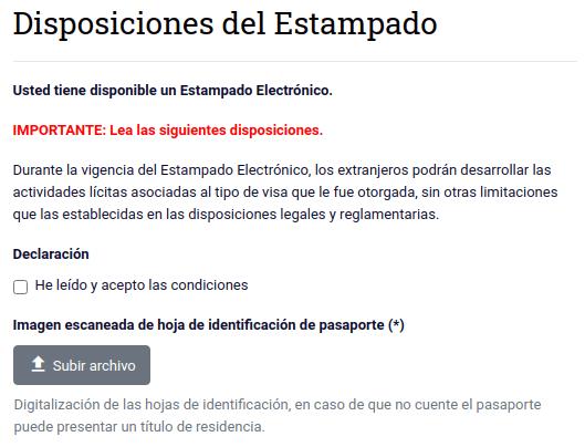 disposiciones del estamapado electrónico imagen escaneada departamento de extranjeria chile immichile