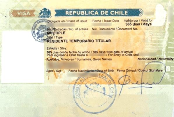 ejemplo visa otorgada en un consulado chileno en el exterior chile immichile