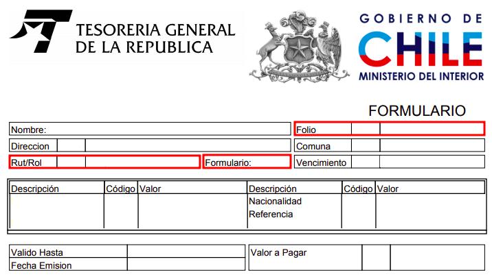 orden de giro departamento de extranjeria y migracion tesoreria general republica chile immichile