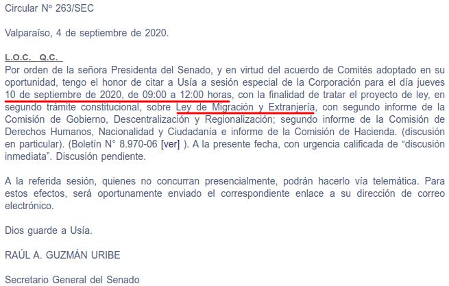 sesion especial proyecto migracion y extranjeria miercoles 10 de 2020