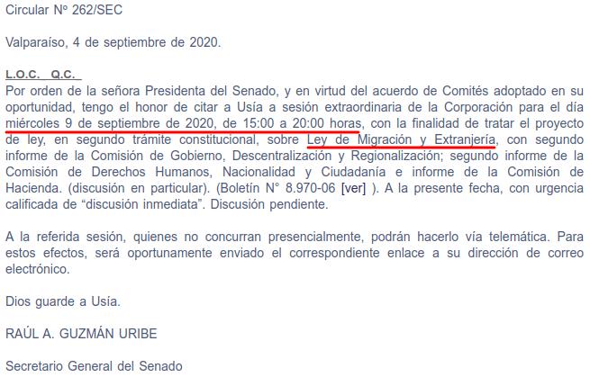 sesion extraordinaria proyecto migracion y extranjeria miercoles 9 de 2020