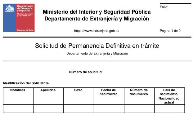 solicitud de permanencia definitiva en trámite pede extranjeria chile immichile