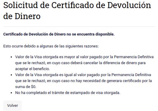 Certificado de Devolución de Dinero no se encuentra disponible immichile