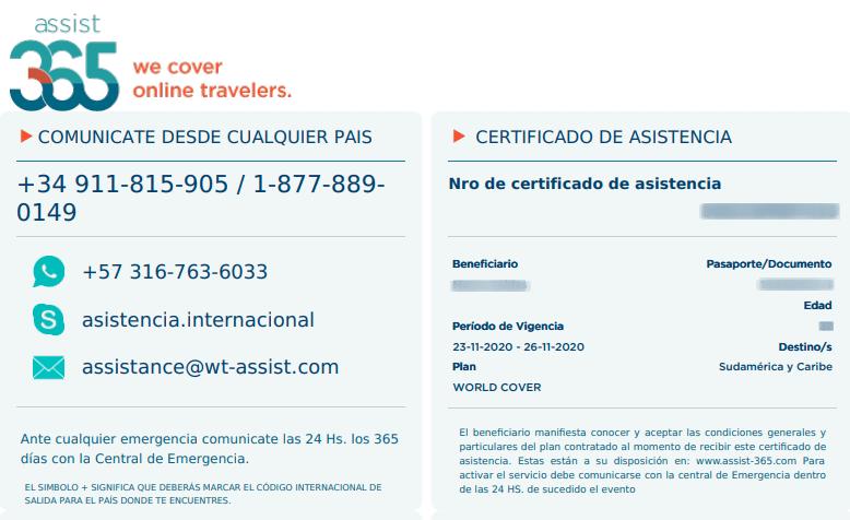 certificado de asistencia seguro de viaje covid19 assist 365 chile immichile
