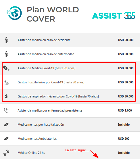 cobertura covid 19 seguro assist 365 world cover economico chile immichile