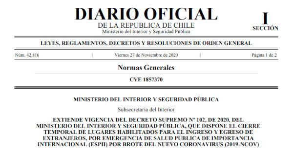 diario oficial decreto 560 cierre fronteras terrestres maritimas chile immichile