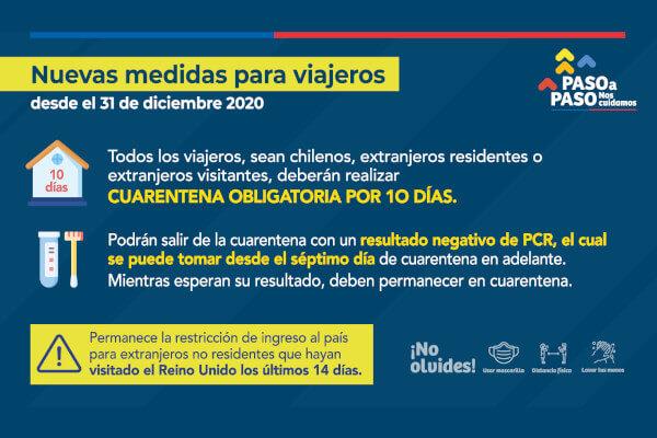 A partir del 31 de diciembre de 2020 todo aquel que ingrese a Chile tendrá que guardar cuarentena obligatoria por 10 días immichile