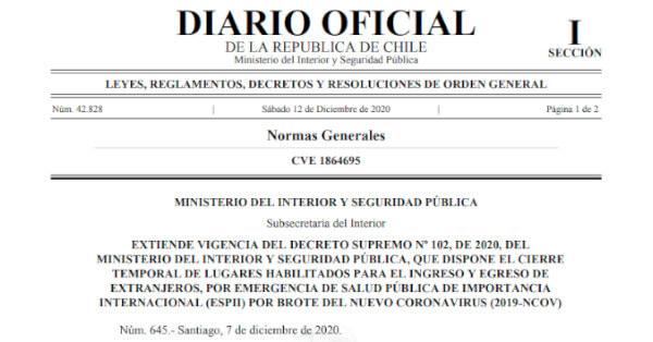 decreto 645 extiende cierre de fronteras maritimas y terrestres en chile a lo menos hasta el proximo 28 de diciembre