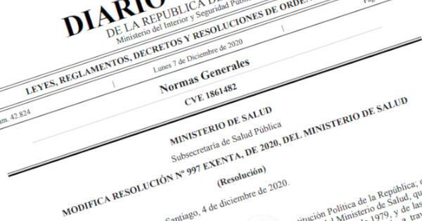 modifica resolucion exenta 997 del ministerio de salud que dispone medidas sanitarias sobre ingreso a chile covid19 coronavirus immichile