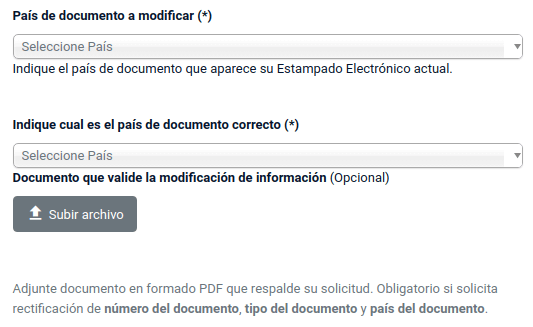 rectificacion de datos estampado electronico ee pais de documento chile extranjeria immichile