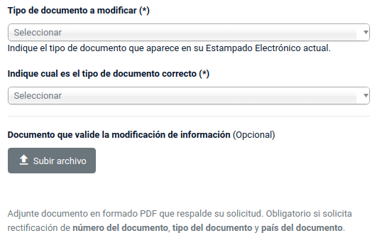 rectificacion de datos estampado electronico ee tipo de documento chile extranjeria immichile