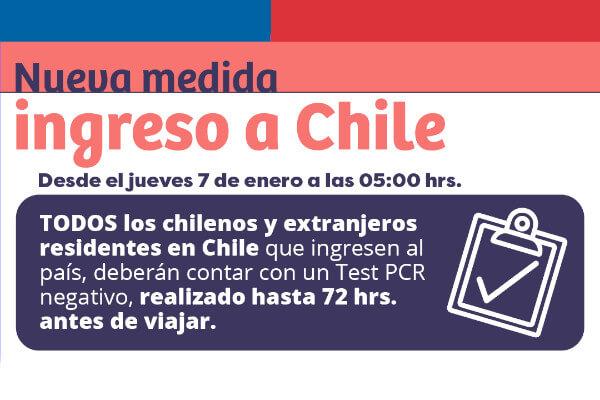 A partir del 7 de enero de 2021 chilenos y extranjeros residentes en Chile PCR negativo immichile