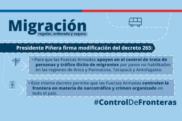 Presidente Piñera firma decreto que incorpora a Fuerzas Armadas en tareas de control migratorio immichile