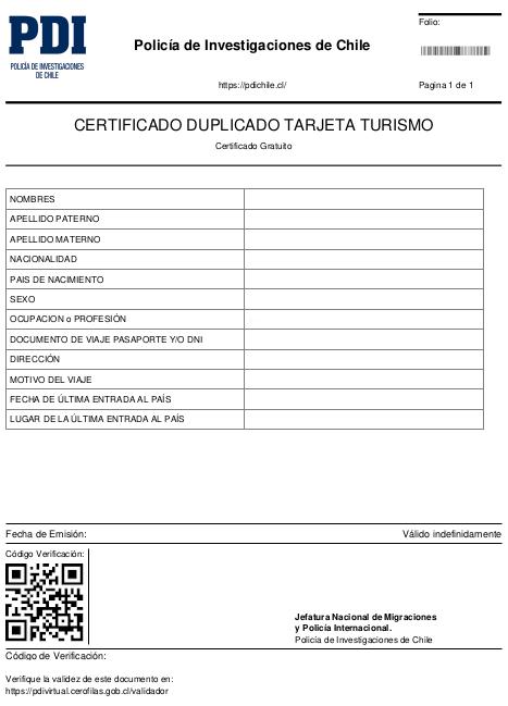 certificado duplicado tarjeta de turismo pdi turista tarjeta turista immichile pdivirtual