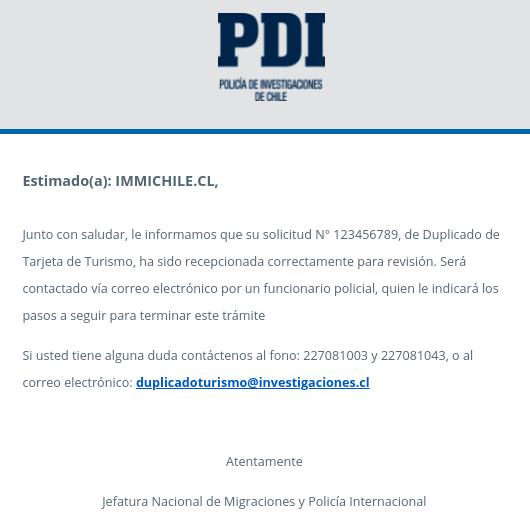 correo electronico pdi chile policia de investigaciones duplicado de turismo immichile