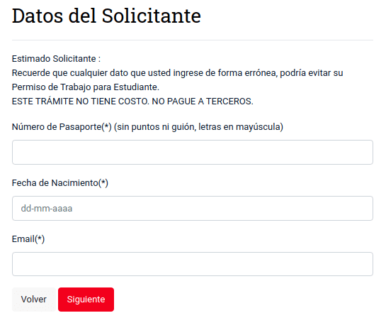 datos del solicitante descarga permiso de trabajo con visa de estudiante chile extranjeria immichile