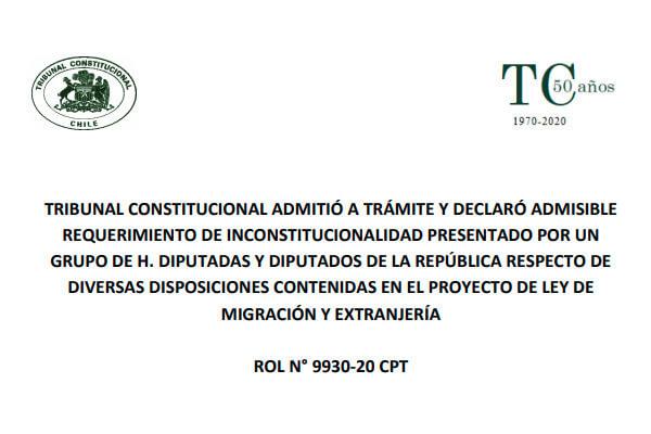 tribunal constitucional proyecto de ley de migracion y extranjeria chile immichile