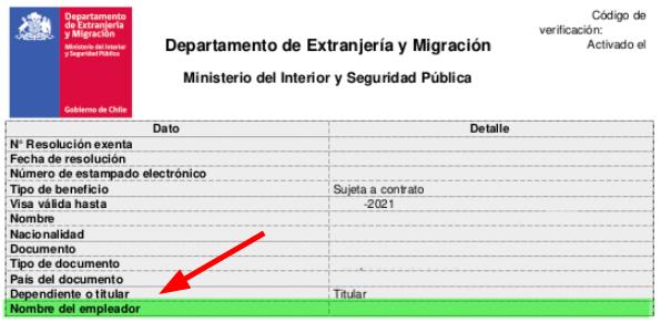 nombre del empleador visa sujeta a contrato chile estampado electronico immichile