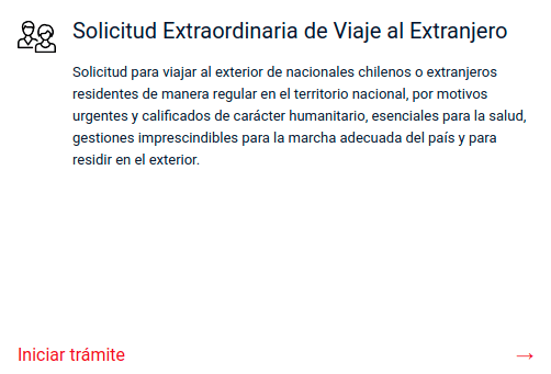 Solicitud Extraordinaria de Viaje al Extranjero comisaria virtual immichile chile