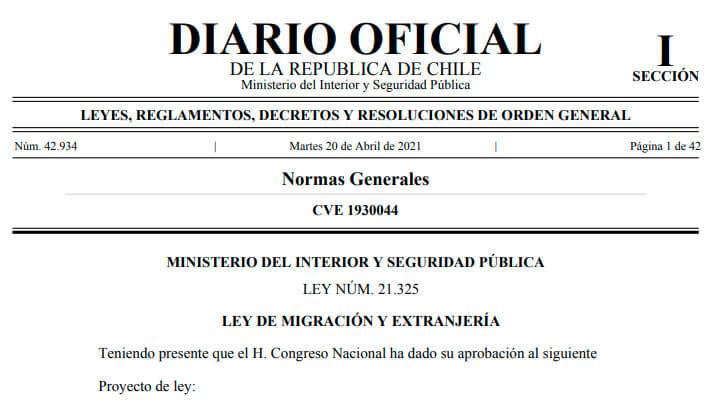 ley de migracion y extranjeria migraciones se publica diario oficial chile immichile proceso regularizacion