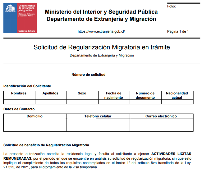 solicitud de regularizacion migratoria en tramite extranjeria chile immichile resolucion