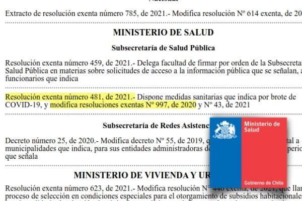 resolucion 481 de 2021 introduce modificaciones a resolucion exenta 997