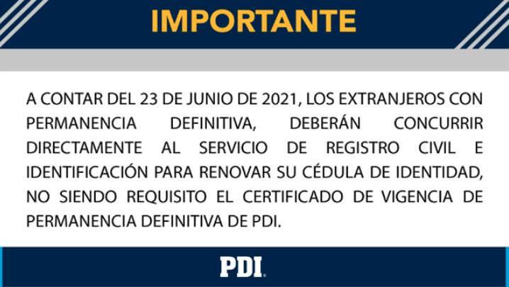 certificado vigencia permanencia definitiva pdi renovacion cedula de identidad chile immichile