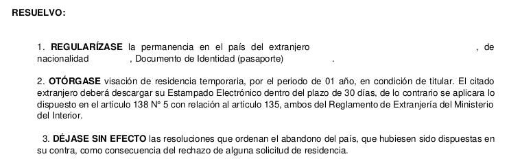 aprueba visa regularizacion migratoria temporaria chile extranjeria immichile