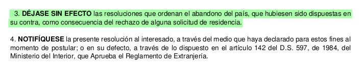dejase sin efecto orden de abandono del pais regularizacion extranjeria chile immichile