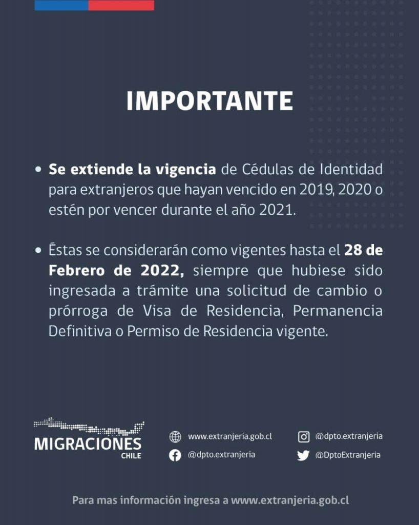 se extiende vigencia cedulas de identidad extranjeros 2019 2020 2021 immichile extranjeria