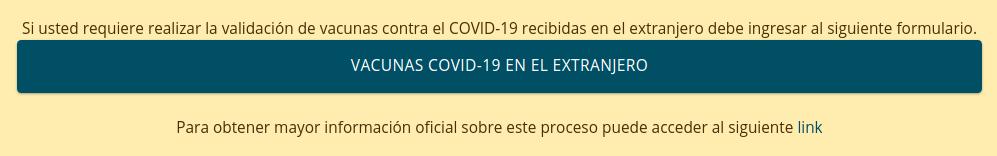 solicitud validacion vacuna homologacion chile